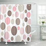 Pink and Tan Shower Curtain Shower Curtain 72x72 Inch Home Postcard Decor Beige Pastel Retro Pink and Brown Polkadot Tan 1960s 1970s 60s 70s Abstract Bright Shower Hook Set are Included
