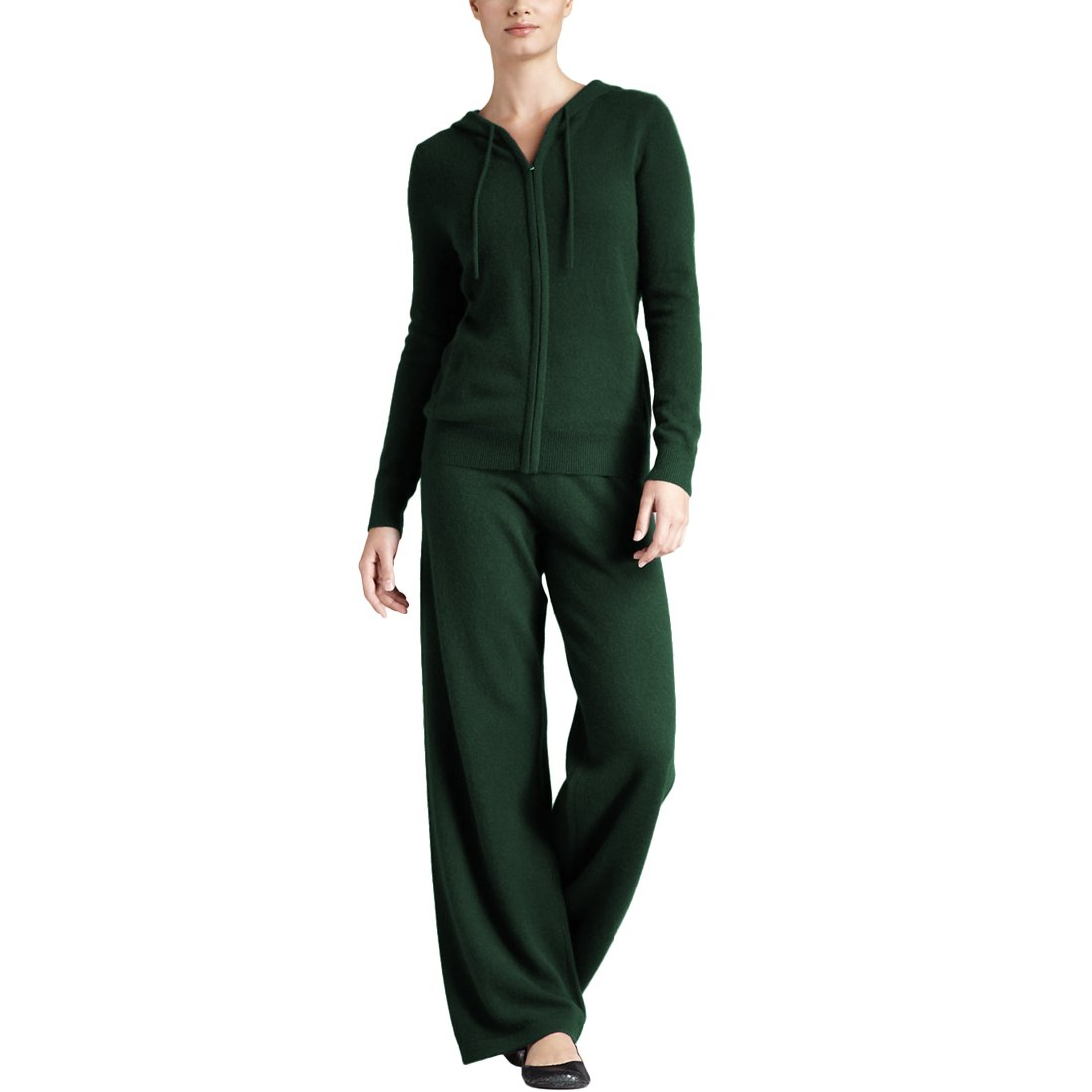 Parisbonbon Women's 100% Cashmere Sweater and Pants Set Color Hunter Green Size XL