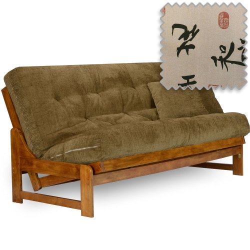 "Arden Futon Set - Full Size, Frame, Premium 8"" Mattress, Angela Cover from Nirvana Futons"