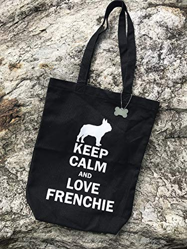 French bulldog Portable Black Canvas Tote Bag KEEP CALM and LOVE FRENCHIE with BONE accessory - Perfect for A4 magazine or documents