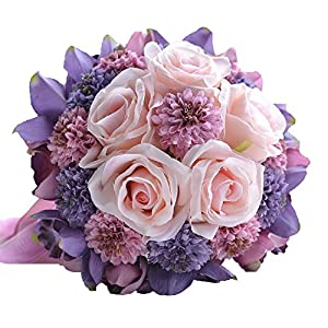 Abbie Home Handmade Rose and Sunflower Real Touch Artificial Silk Flowers Wedding Bouquets for Bride-(Purple+Pink) 4