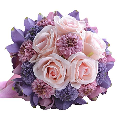 Abbie Home Handmade Rose and Sunflower Real Touch Artificial Silk Flowers Wedding Bouquets for Bride-(Purple+Pink)