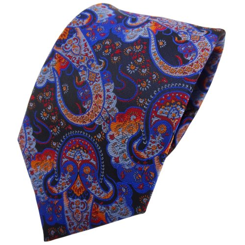 TigerTie cravate bleu foncé orange rouge Paisley - cravate Tie