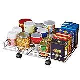 Slim Flat Rolling Floor Shelf Metal Storage Cart, Expandable