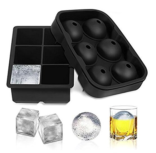 Siberian Ice Whiskey Ice Molds - Set of 4 Silicone Round Ice Ball Sphere Maker Molds -