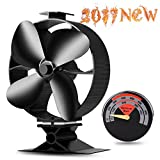 Cheap CWLAKON 2017 New Designed Silent Operation 4-Blades Large Heat Powered Stove Fan with Free Stove Thermometer for Wood/Log Burner/Fireplace- Eco Friendly(Black)