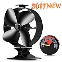 2017 New Designed Silent Operation 4 Blades Large Heat Powered Stove Fan with Free Stove Thermometer for Wood/Log Burner/Fireplace- Eco Friendly(Black)