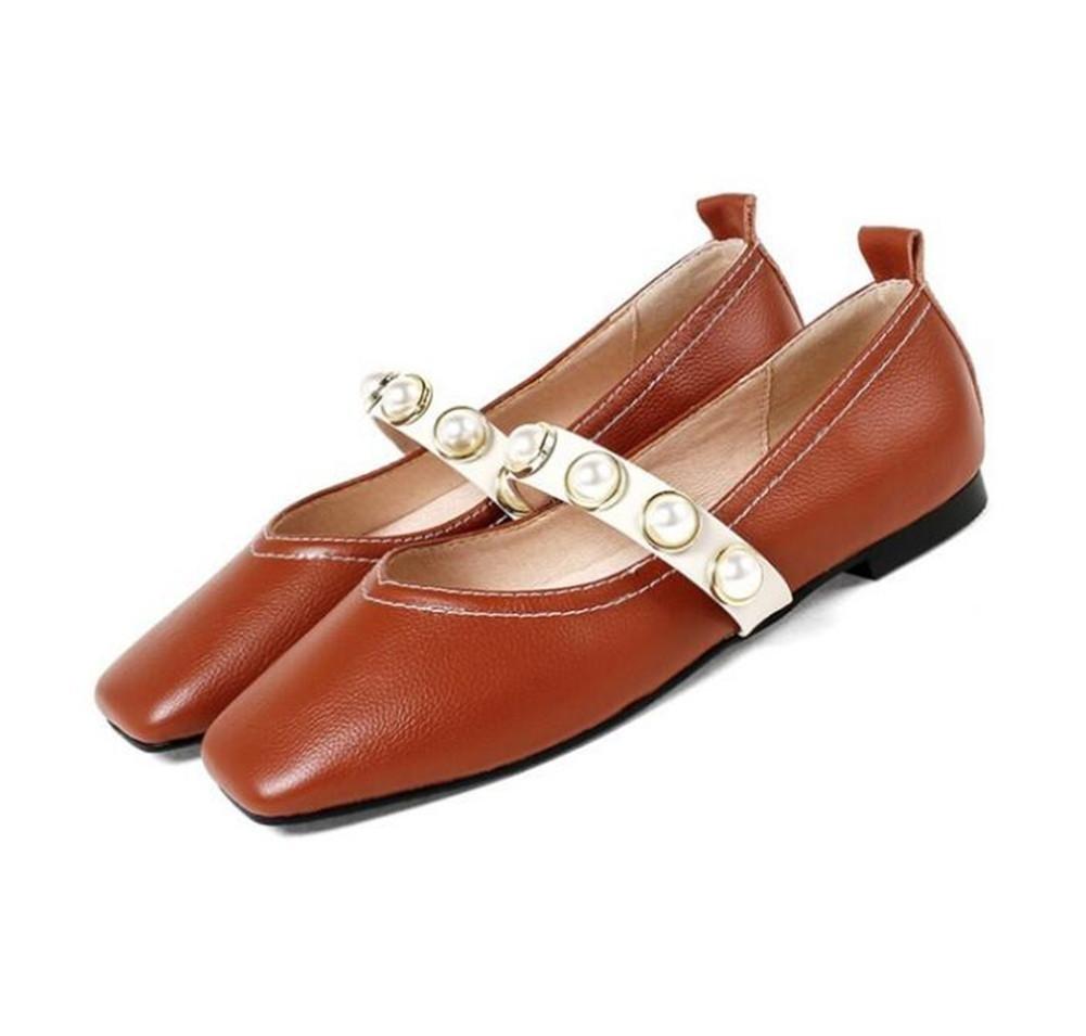 XIE Zapatos de mujer piel genuina Retro Punta cuadrada Instep Pearl Correa plana Tamaño 35 a 39, EU38 BROWN-EU38