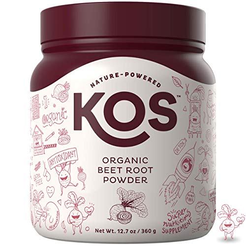 KOS Organic Beet Root Powder | Natural Nitric Oxide Boosting Beet Root Powder | USDA Organic, Stamina Increasing, Circulation Superfood Plant Based Ingredient, 360g, 90 Servings
