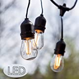 48 Ft Amber LED Outdoor String Lights with 15 Lights (3 Extra S14 Bulbs) and ...