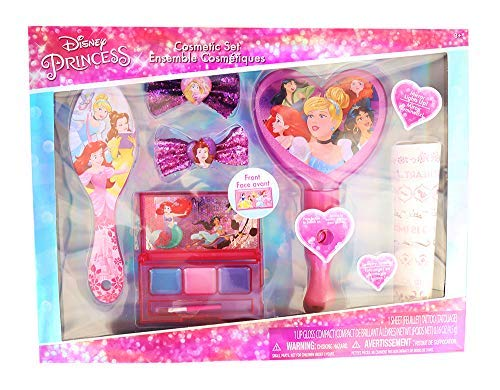 Townley Girl Disney Princess Hair and Makeup Set w/ 1 Lights up Mirror, 1 Sheet Jewelry Tattoo, 1 Lip Gloss Compact, 1 Hair Brush, 2 Hair Glitter Bows