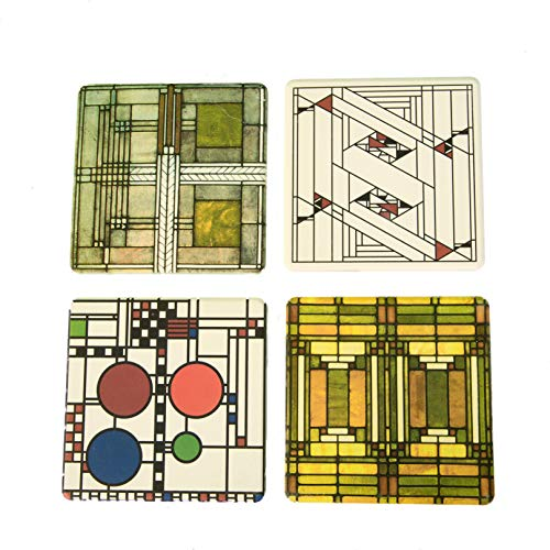 - CoasterStone AS305 Absorbent Stone Coasters, Frank Lloyd Wright, Art Glass Designs