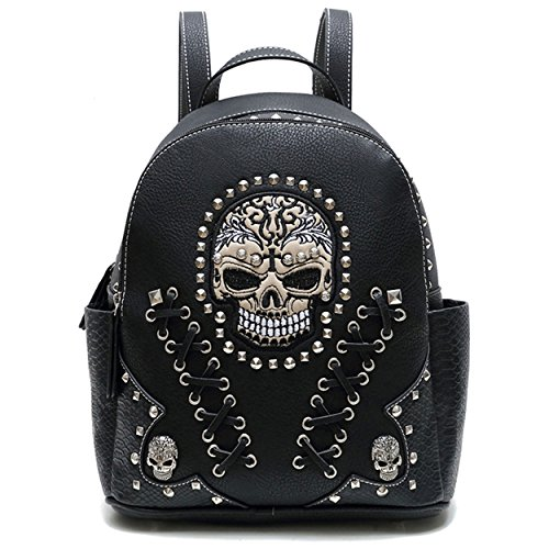 Western Sugar Skull Punk Art Rivet Studded Biker Purse Women Backpack Bookbag Python Shoulder Bag Black - Biker Handbags
