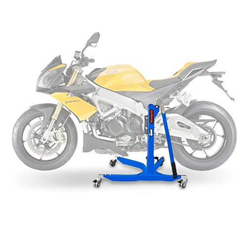 Central Stand - Motorbike Central Stand Paddock Lift ConStands Power Aprilia Tuono V4 1100 RR 15-17, Adaptor+Casters incl. blue