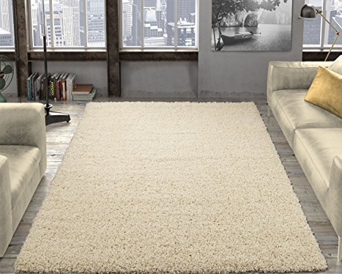 "Ottomanson SHG2762-8X10 Shag Collection Area Rug, 7'10"" x 9'10"", Cream"