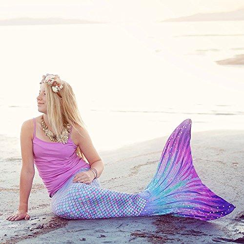Sun Tail Mermaid Girls' Aurora Borealis Mermaid Monofin Swim Suit, Pink, Large 8/10 by Sun Tail Mermaid (Image #5)