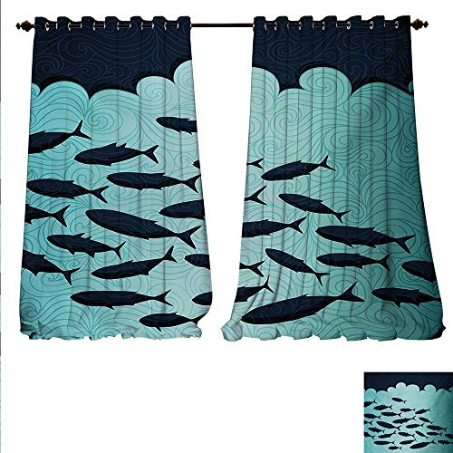 familytaste Drapes for Living Room Surreal Ornate Swirl Waves and Group of Fish with Nautical Under The Sea Theme Window Curtain Drape W72 x L96 Blue Turquoise.jpg -