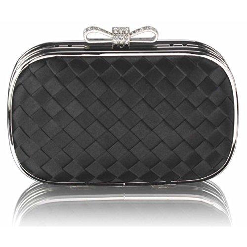 TrendStar - Cartera de mano mujer Black Crystal Clutch Handbag