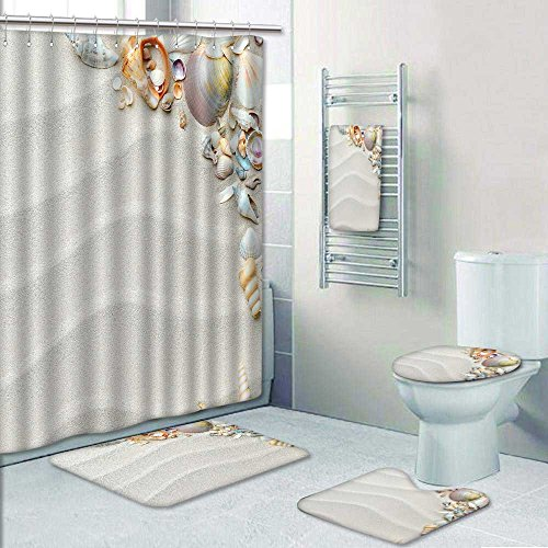 Philiphome 5 Piece Bath Accessory Set Bathroom Rugs amp Shower Curtain amp Bath Towel beach with starfish and seashells Decorate the bathroom