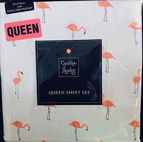 Cynthia Rowley Flamingo Queen Sheet Set 4 Pc Flamingos on Bl