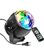 SaponinTree Led-discobol, 7 modi, RGB-kleuren, discolamp, muziekgestuurd, met afstandsbediening, discolamp, projector, roterend lichteffect voor feest, viering, karaoke, verjaardag