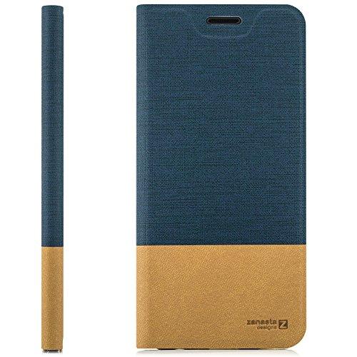 Funda Huawei Honor 6X Case Cubierta Carcasa Flip Cover Tapa Delantera con Billetera para Tarjetas, Cierre Abatible - Protectora de Alta Calidad | Pardo Rojo Azul