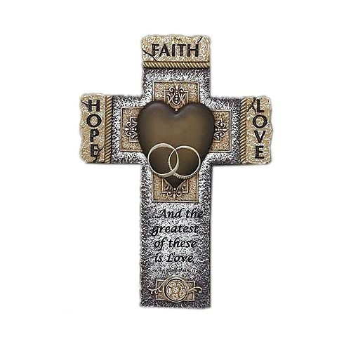 Abbey Gift Faith Hope Love Marriage Cross, 7.25 x 10.5