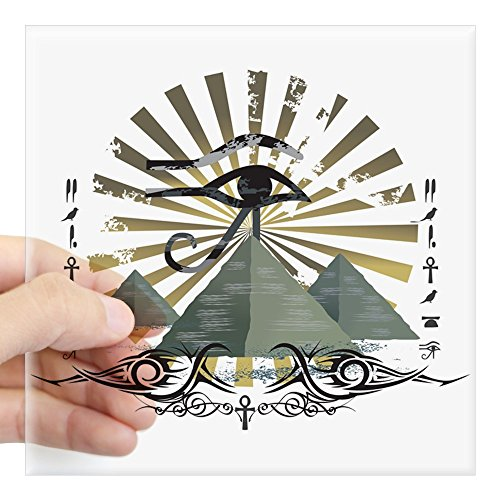 Square Sticker Clear 3 x 3 Inch Egyptian Pyramids Ankh Eye of Horus