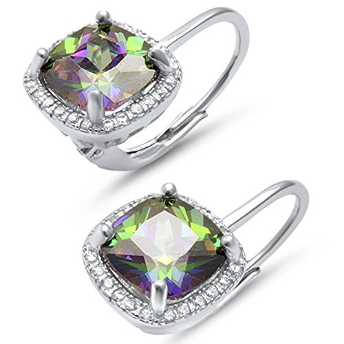 Cushion Cut Simulated Gemstone and Cubic Zirconia .925 Sterling Silver Earrings Colors Available (Rainbow Cubic Zirconia) (Sterling Silver Earrings Antique)
