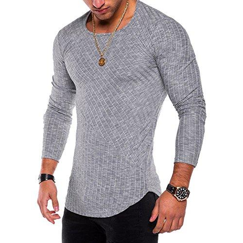 Memoriesed Spring Men T-Shirts Plus Size 3XL Long Sleeve Striped T Shirt Casual O-Neck Solid Tshirt,Light Grey,XXL