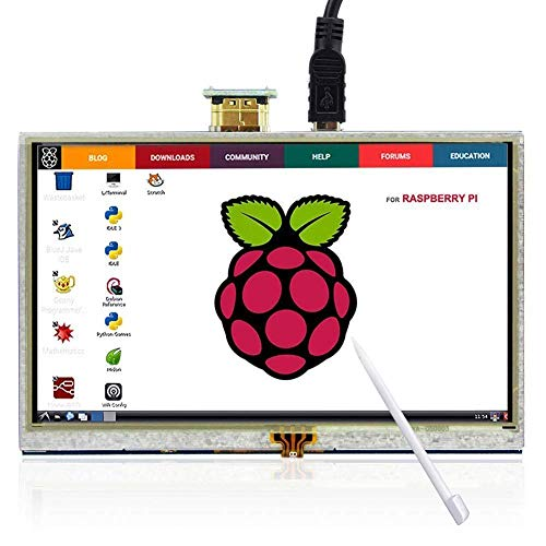 The perseids 5 inch Touch Screen 800x480 TFT LCD Display High Resolution HDMI Monitor for Raspberry Pi 3/2/Model B/B+ with Touch Pen ()