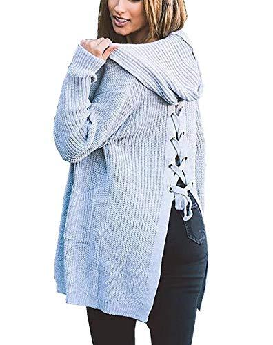 Tasche Lacci Eleganti Moda Autunno Lunghe Maniche Sciolto Maglia Cappotto A Pullover Casual Con Invernali Alla Donne Outwear Giacca Gris Abbigliamento Incappucciato Fashion qXRUw64f