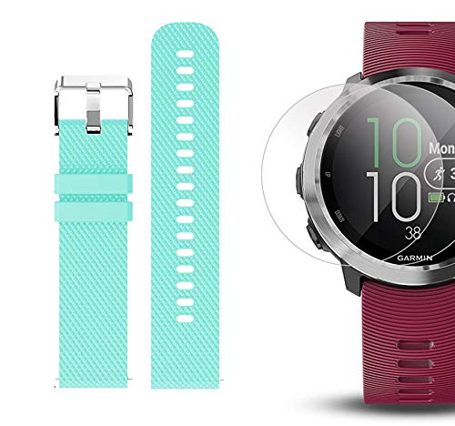 Garmin Forerunner 645 Music Bundle with Extra Band & HD Screen Protector Film (x4) | Running GPS Watch, Wrist HR, Music & Spotify, Garmin Pay (Cerise + Music, Teal) by PlayBetter (Image #6)