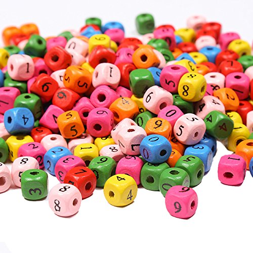 200Pcs 10mm Multicolor Dice Wood Beads Numbers Beads Loose Beads for DIY Children's Handmade Jewelry Accessories Craft Project