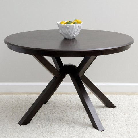 Context Modern Dark Brown Espresso Round Wooden Top Dining Room or Kitchen Table for 4