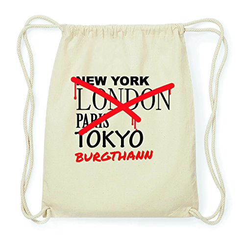 JOllify BURGTHANN Hipster Turnbeutel Tasche Rucksack aus Baumwolle - Farbe: natur Design: Grafitti