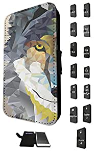 283 - geometric Aztec Wolf Tiger Face Design Fashion Trend Credit Card Holder Purse Wallet Book Style Tpu Leather Flip Pouch Case Samsung Galaxy A3