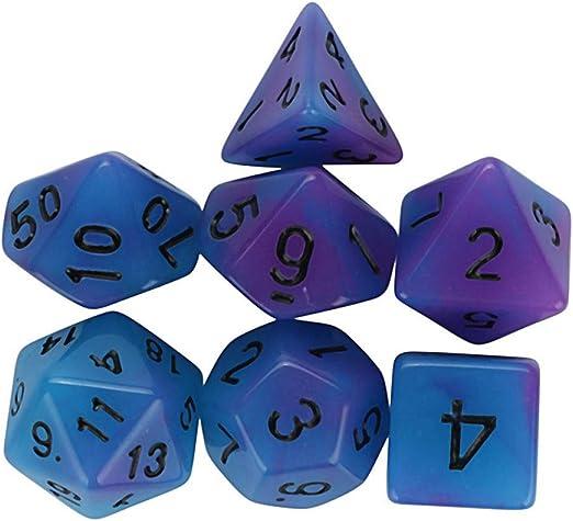 Dados Set para Dragones Y Mazmorras D&D, Dado Poliédrico Y De rol, 7Pcs Luminosa para El Juego De Dados, Azul Púrpura Multi Caras Acrylic Dice Don: Amazon.es: Hogar