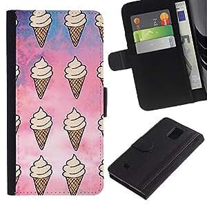 LASTONE PHONE CASE / Lujo Billetera de Cuero Caso del tirón Titular de la tarjeta Flip Carcasa Funda para Samsung Galaxy Note 4 SM-N910 / ice cream pattern sky sweet summer