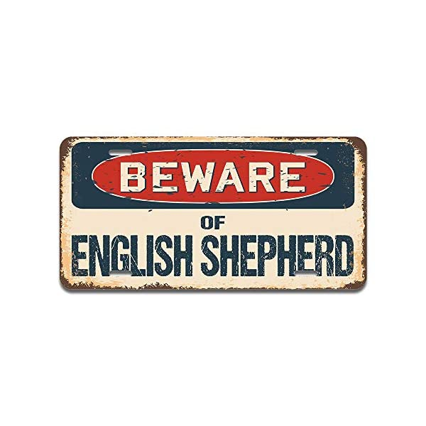 """SignMission Beware of English Shepherd Aluminum License Plate 12"""" X 6"""" Fits Any Car, Truck, SUV, RV, or Trailer 