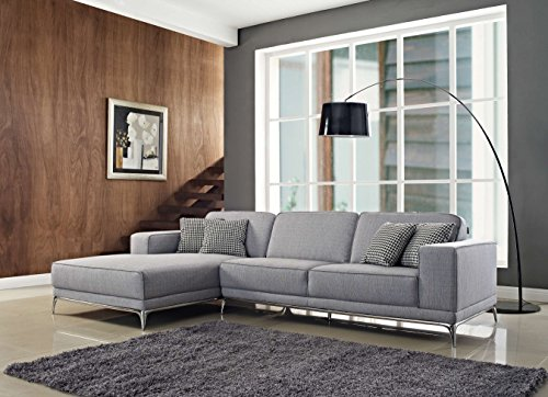 Creative Furniture Agata Sectional Left Facing Chaise, Light Gray