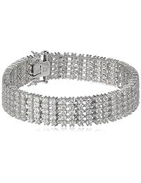 "Sterling Silver Round Cubic Zirconia Tennis Bracelet, 7.25"""