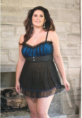 - Coquette Lycra/mesh Babydoll w/Padded Cups and g-String Black/Blue 3x/4x