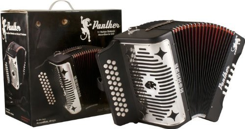 Hohner Panther 3100GB G/C/F 3-Row Diatonic Accordion with Free Gig Bag GCF Black