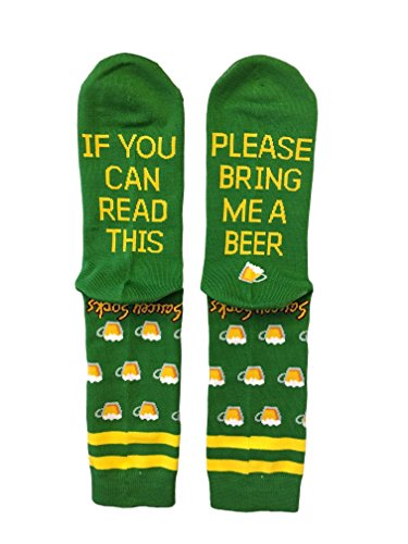 Saucey Socks - If You Can Read This Please Bring Me Beer Socks (10-13, BEER - Green with Yellow Lettering)