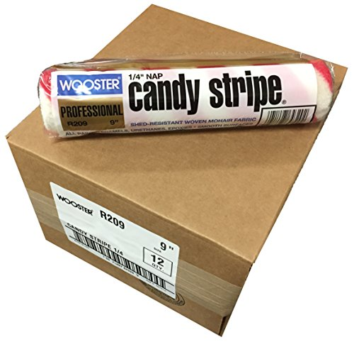 Red Candy Stripe (Wooster Brush R209-9 Candy Stripe Roller Cover 1/4-Inch Nap, Pack of 12)