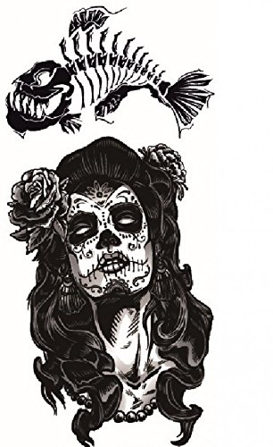 GGSELL Latest hot selling and fashionable design Terrible skull lady with grey rose and fish bone fake temp tatoo sticker