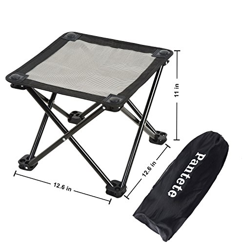 Pantete Folding Chairs Outdoor, Camping Stool Anti-UV & Anti-Freeze & Waterproof Ultralight Camping Chair Collapsible with Carrier Strap Bag, 12.6''x12.6''x11'' (Textilene) by Pantete