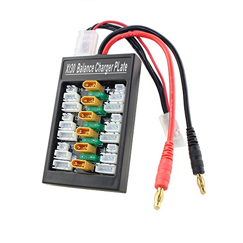 Upgraded XT30 Parallel Charging Board Adaptor Lipo Battery Charger for 1S 2S 3S LiPo Batteries Compatible with 6pcs XT30 to JST Cable