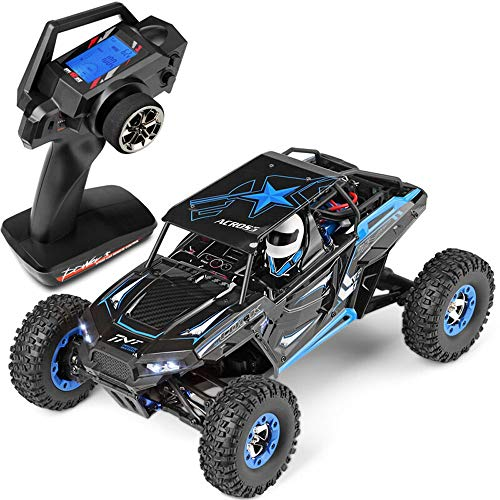 Poooc High Speed Electric Rechargeable Buggy Race Mini RC Car Vehicle All Terrain Super Large Remote Control Drift Music Jitter Dancing 1/12 Scale Off-Road Monster Truck Overall Direction (Blue)